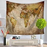 YQ Park World Map Tapestry Geography Ocean Current Educational Retro Art Tapestry Wall Hanging for Room Dorm Home Decor