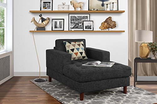 Mid Century Modern Linen Fabric Living Room Chaise Lounge (Dark Grey) (Linen Chaise)