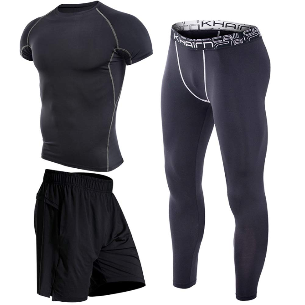 QJKai Fitness-Bekleidung dreiteilige Sport kurzärmelige schnell trocknende T-Shirt Fitness-Training Laufbekleidung für Männer Sommer