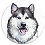 Alaskan Malamute Dog Watercolor Art Portrait Alaska Mom Dad PopSockets Grip and Stand for Phones and Tablets 9