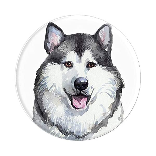 Alaskan Malamute Dog Watercolor Art Portrait Alaska Mom Dad PopSockets Grip and Stand for Phones and Tablets 3