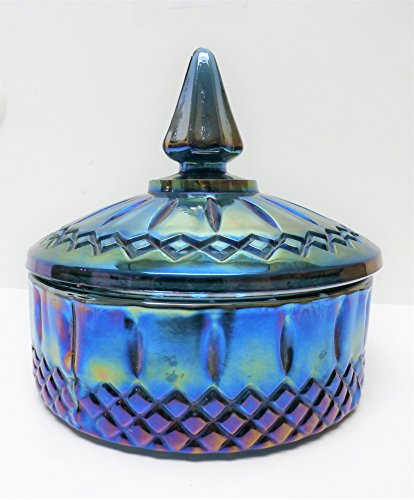 Vintage Indiana Blue Carnival Glass Covered Candy Dish