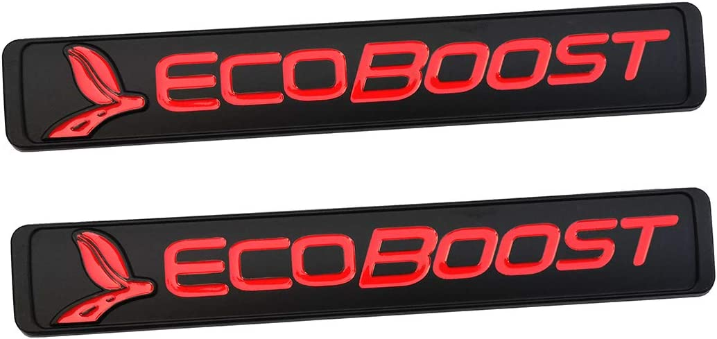 Red 3D Nameplate Door Fender Tailgate Stickers Replacement for SUV F150 ECOBOOST 2011-2018 Original Size 2Pcs EcoBoost Emblems