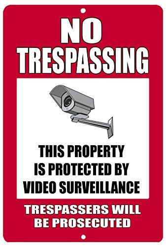 Señal metálica de advertencia de no traspasar la cámara de seguridad para videovigilancia