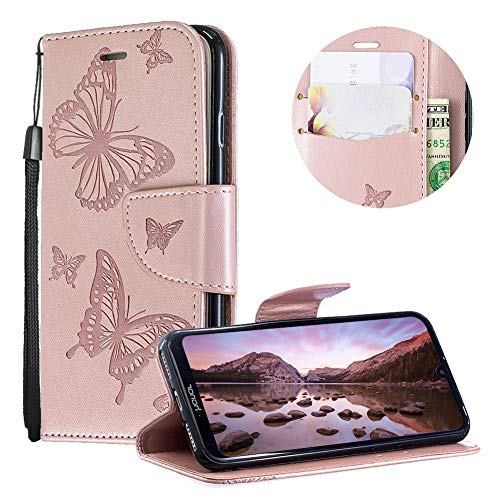 Huawei Y5 2019 Case,PU Leather Wallet Case for Huawei Y5 2019,Moiky Luxury Rose Gold Butterfly Pattern Print Embossed Soft Leather Purse Flip Magnetic Stand Shockproof Case Cover with Card Slots - Embossed Gold Lip Inner