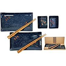 Happy Sales HSBH79/N,  6 pc Japanese Sushi Plate set Dragonfly Blue
