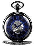 KS Full Hunter Men's Mechanical Pocket Watch Retro Rome Number Black Case With Chain KSP072