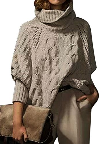 Chunky Knit Jumper (Joeoy Women's Beige Long Sleeve Turtle Neck Loose Cable Knit Chunky Sweater Jumper-L)