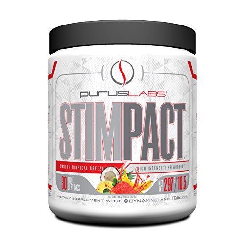 Purus Labs Stimpact, High Intensity Pre-Workout Powder with Dynamine, Teacrine, Smooth Tropical Breeze, 30 Servings