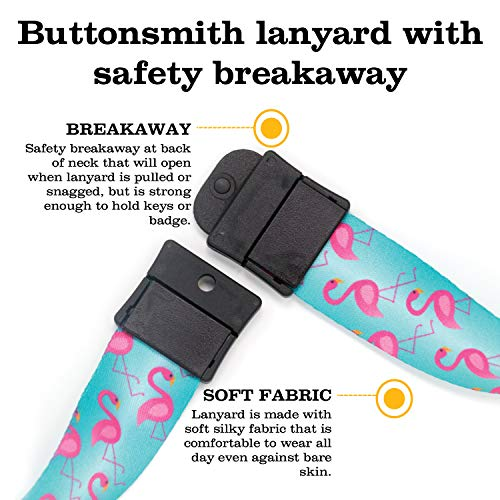 Buttonsmith Flamingos Premium Breakaway Lanyard - Safety Breakaway, Buckle and Flat Ring - Made in USA by Buttonsmith (Image #4)