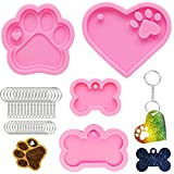 Keychain Silicone Mold Kit,4 Pieces Large Dog Paw/bone/heart Resin Mold for DIY Dog Tag Baking Epoxy Resin with 10 Pieces Big Key Ring