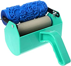 5 inch Pattern Paint Roller Decorative Texture Roller with Single Color Paint Roller, Plastic Handle, Used for Home Wall Decoration DIY Stickers