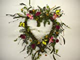 17 Inch Butterfly and Wildflower Heart Shaped Front Door Wreath