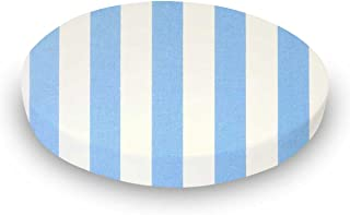 product image for SheetWorld Fitted 100% Cotton Percale Oval Crib Sheet, Fits Stokke Sleepi 26 x 47, Blue Stripe, Made in USA