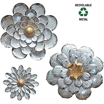 27d10d8a91 Amazon.com: Cape Craftsmen Set of 2 Multiple Layer Metal Wall Flower ...