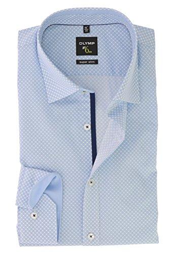 OLYMP Serie No. 6 SIX Super Slim Herren BusinessHemd Bleu Blau Under Button Down Kragen Comfort Stretch Gr.37 - Bügelleicht