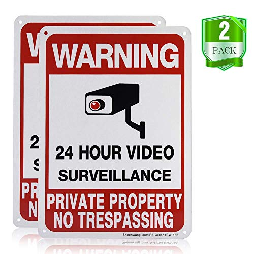 Sheenwang Private Property No Trespassing Sign, Video Surveillance Signs Outdoor, UV Printed .040 Mil Rust Free Aluminum 10 x 7 in, Security Camera Sign for Home, Business, Driveway Alert, CCTV