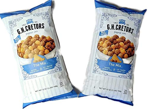 Popcorn Mix - New Size G H Cretors Popped Corn The Mix Chicago Style 2 pack (32 oz per bag) Caramel Corn & Cheddar Cheese