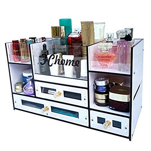 (FChome Cosmetic Storage Boxes with Drawers,Acrylic and PVC Jewelry Cosmetic Display Cases Makeup Organizer Set (A))