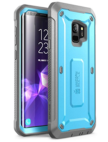 (SUPCASE Unicorn Beetle Pro Series Case Designed for Galaxy S9, with Built-In Screen Protector Full-body Rugged Holster Case for Galaxy S9 (2018 Release) (Blue) )
