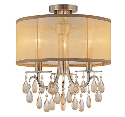 Crystorama 5623-AB_CEILING Hampton 3-Light Semi-Flush with Gold Shimmer Fabric Shade and Etruscan Crystal Drops, Antique Brass Finish by (Etruscan Antique)