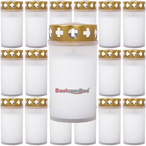 20 Grabkerzen Ersatzkerzen Grablichter Tagebrenner Grablampen Set Auswahl: weiß - 20 Stück