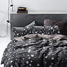 Dark Gray Duvet Cover Set, 100% Cotton Bedding, White Floral Flowers and Tree Branches Leaves Pattern Printed on Grey, with Zipper Closure (3pcs, Queen Size)