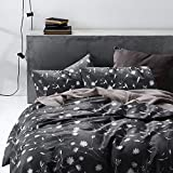Wake In Cloud 3pc Cotton Duvet Cover Set, Queen, Gray-White Floral