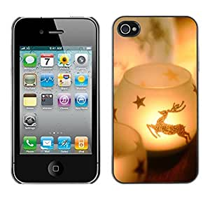 YOYO Slim PC / Aluminium Case Cover Armor Shell Portection //Christmas Holiday Deer Candle 1230 //Apple Iphone 4