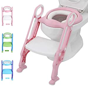 Potty Training Toilet Seat with Step Stool Ladder for Kid and Baby, Adjustable Toddler Toilet Training Seat with Soft Anti-Cold Padded Seat, Safe Handles and Non-Slip Wide Steps, Light Pink-Ivory