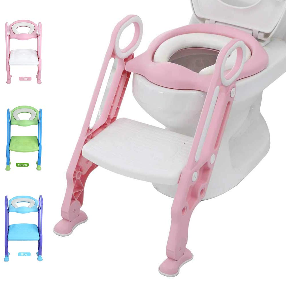 Potty Training Toilet Seat with Step Stool Ladder for Kid and Baby, Adjustable Toddler Toilet Training Seat with Soft Anti-Cold Padded Seat, Safe Handles and Non-Slip Wide Steps, Pink White for Girls