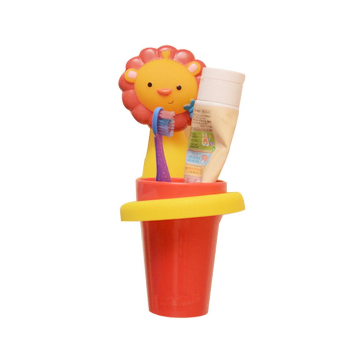 WDHome Kids Cartoon Toothbrush Holder with Rinse Cup, Child Cute Bathroom Toothbrush Wall Hanging Organizer Holder with 2 Strong Suction Cups, Animals Lion