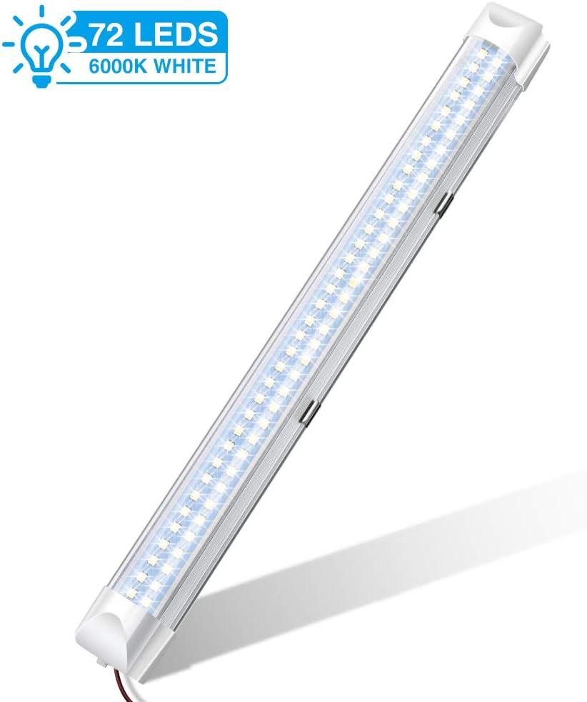 Audew Led Leiste Mit 72 Leds 34 5 Cm Mit Ein Aus Schalter Autoinnenbeleuchtung Dc 12 V Weiß 1 Stück Auto