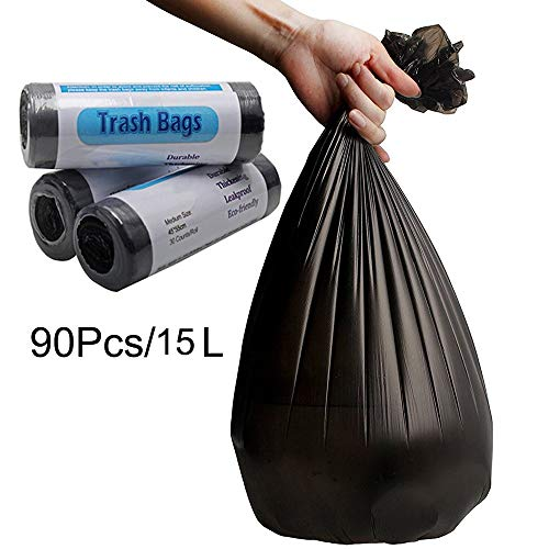 4 Gallons Small Trash Bags,Recycled Garbage Bags Total Leakproof Degradable Wastebasket Bags,Biodegradable Rubbish Liners Bags for Office, Home, Bathroom, Kitchen (90 Counts)