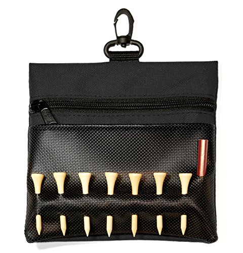 (Sportwaves Golf Tee Bag - Store Your tees, Golf Balls, scorecard, and Pencil. Great Gift for Golfers! (Black))