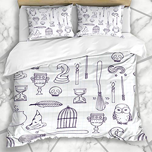 Ahawoso Duvet Cover Sets Queen/Full 90x90 Candle Harry Different Witch Equipment Pattern Period Potter Wand Broom Witchcraft Besom Birdcage Microfiber Bedding with 2 Pillow Shams ()