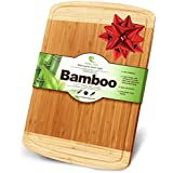 Midori Way Thick Bamboo Cutting Board with Juice Grooves - Extra Large