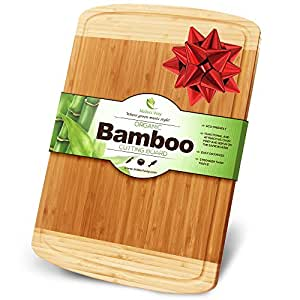 Midori Way Thick Bamboo Wood Cutting Board with Juice Grooves - Extra Large (18x12 -Inch)