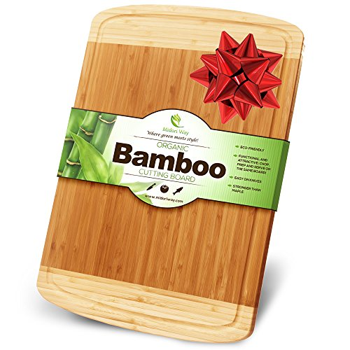 Midori Way Thick Bamboo Wood Cutting Board with Juice Grooves - Extra Large (18x12 -Inch) (Tree Christmas Carving Soap)