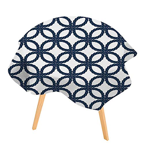 Woven Polyester 108' Round Tablecloth - PINAFORE Indoor/Outdoor Tablecloth Geometric Woven Navy Rope Seamless in Blue and White Available in Many Different Sizes and Colorways 50