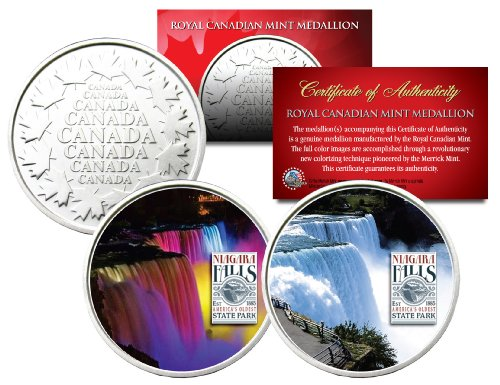 NIAGARA FALLS * Daytime & Nightime * Set of 2 Royal Canadian Mint Medallion Coin