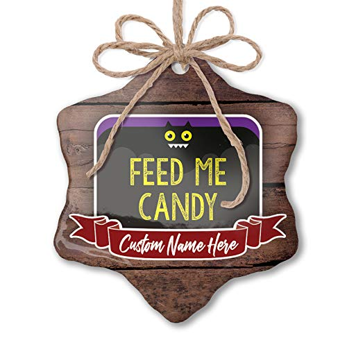 NEONBLOND Custom Family Ornament Feed Me Candy Halloween Funny Bat Personalized -
