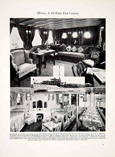 1928 Print Helena 95ft Cruiser Yacht Ship Interior Furniture Boat Sailing YYM2 - Original Halftone Print - 95' Wall