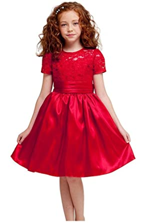 kid collection girls red flower girl christmas dress k1216 size 2 - Girl Christmas Dresses