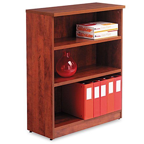 Alera Valencia Series Bookcase/Storage Cabinet, 3 Shelves, 32 W by 14 1/2 D by 39 1/2 H, Medium Cherry