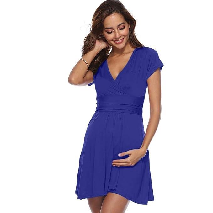 BBsmile Ropa Embarazadas Embarazo de Las Mujeres V Cuello Vestido Maternidad Verano Color sólido Vestido de