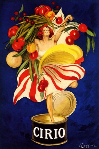 Matte Giclee Art (CIRIO ITALIAN CANNED FOOD COMPANY WOMAN HOLDING VEGETABLES IN CAN ITALY CAPPIELLO LARGE VINTAGE POSTER REPRO)