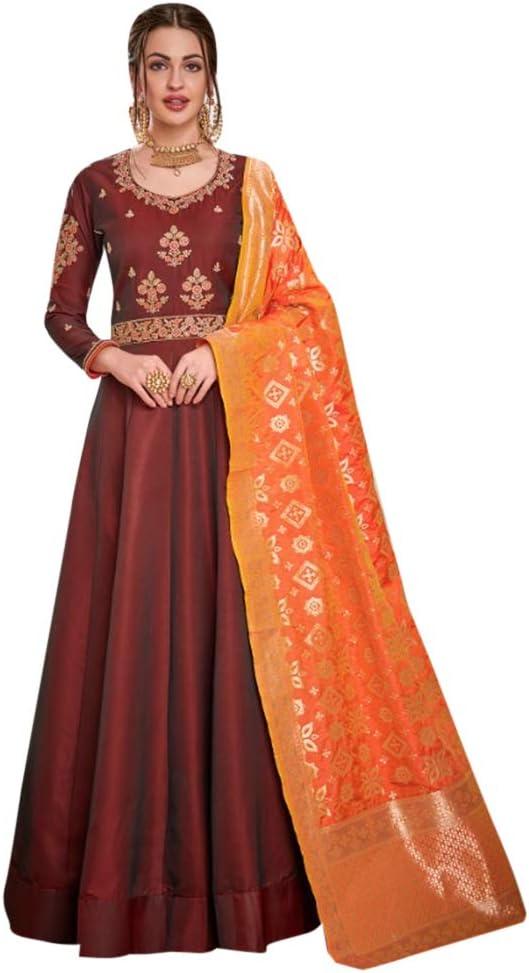 Details about  /Salwar Kameez Anarkali indian fancy pakistani women kurta Banarasi dupatta dress