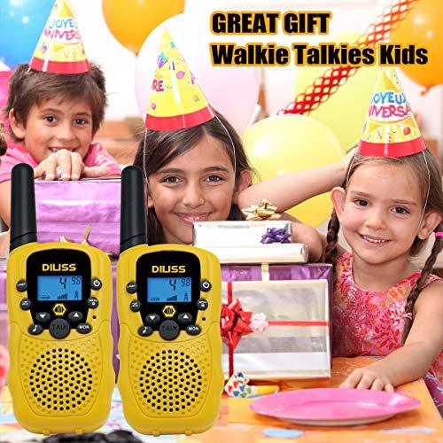 Walkie Talkies para niños, 22 canales FRS / GMRS Radios bidireccionales Uhf 4 millas Mini portátil de mano Walkie Talkies para niños Mejores regalos Juguetes para niños Linterna incorporada Paquete de 2 - Amarillo