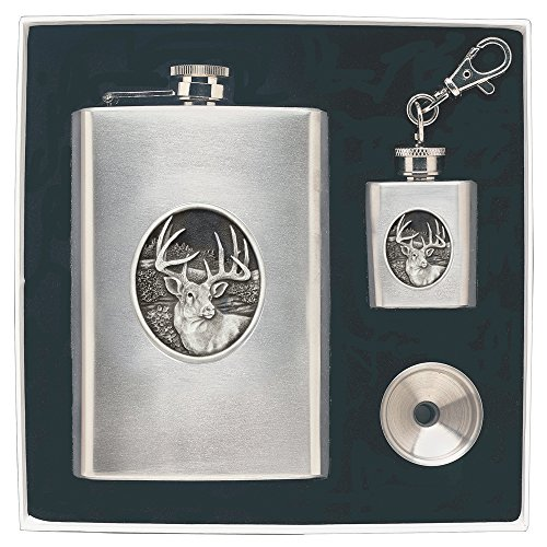 CMC Heritage Pewter Wildlife White Tail Deer Flask Set, One Size from CMC Heritage Pewter